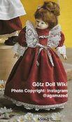 1986 MINOUCHE - Götz Elegance Porcelain Play Doll - 14 Inch PORZELLANPUPPE 65061 - Reddish Brown Hair - Velvet Dress