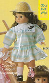 1986 AUDREY - Götz Modell Play Doll - 18 Inch Soft Doll with Kanekalon Wig - WEICHPUPPE mit KANEKALON PERUCKE 58265 - Brown Hair, Brown Eyes - White and Green Pastel Striped Dress