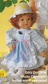 1986 SUSAN - Götz Modell Toddler - 21 Inch Soft Doll - WEICHPUPPE 55764 - Red Hair, Brown Eyes - Blue and Pink Attached Pinafore Dress