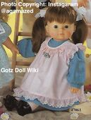 1986 GINA - Götz Modell Play Doll - 21 Inch Soft Doll - WEICHPUPPE 47061 - Brown Hair, Brown Eyes - Blue Jean Dress with Pink Pinafore