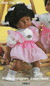 1986 JANE - Gotz Modell Play Doll - 18 Inch Soft Baby - WEICHBABY 44064 - Black Hair - Light Brown Eyes - White and Pink Striped Apron Dress