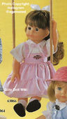 1986 HEATHER - Götz Modell Play Doll - 20 Inch Soft-Bodied Doll with Jointed Arms and Legs - WEICHGELENKPUPPE 63066 - Brown Hair, Brown Eyes - Pink Jumper Dress, White Shirt