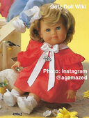 1986 TESS - Gotz Modell Play Doll - 20 Inch Soft-Bodied Baby Doll - WEICHBABY 49062 - Blonde Hair - Blue Eyes - Red Dress with White Bow