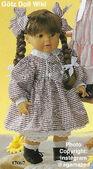 1986 BELINDA - Götz Elegance Toddler - 21 Inch Soft Doll - WEICHPUPPE 17067 - Brown Hair, Brown Eyes - Checkered Dress