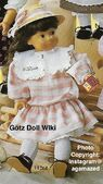 1986 DAISY - Götz Elegance Play Doll - 20 Inch Soft-Bodied Doll with Jointed Arms and Legs - WEICHGELENKPUPPE 11261 - Brown Hair - Pink Striped, Drop Waist Dress