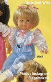 1986 TRIXIE - Gotz Modell Play Doll - 20 Inch Soft-Bodied Baby Doll - WEICHBABY 49065 - Blonde Hair - Blue Eyes - White Shirt with Blue and White Overalls with Pink Trim