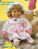 1986 TANJA - Gotz Modell Play Doll - 20 Inch Soft-Bodied Baby Doll - WEICHBABY 49063 - Blonde Hair - Blue Eyes - White and Pink Knit Dress