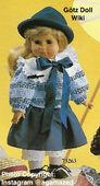 1986 NICOLE - Götz Elegance Play Doll - 18 Inch Soft Doll - WEICHPUPPE 73263 - Blonde Hair, Brown Eyes - Blue Striped Knit Top, Blue Skirt