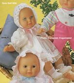 1986 WILMA - Gotz Modell Play Doll - 22 Inch Soft-Bodied Baby Doll - WEICHBABY 60069 - Bald Baby Doll - Blue Eyes - White Cotton Eyelet Dress