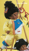 1986 JULIE - Gotz Modell Play Doll - 22 Inch Soft Baby - WEICHBABY 71063 - Black Hair - Brown Eyes - Yellow Track Suit with Red, Blue and White