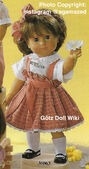 1986 MAGGIE - Götz Elegance Play Doll - 16 Inch Soft-Bodied Doll with Jointed Arms and Legs - WEICHGELENKPUPPE 30063 - Brown Hair, Brown Eyes - Pleated Jumper