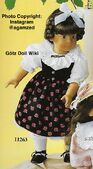 1986 DOROTHY - Götz Elegance Play Doll - 20 Inch Soft-Bodied Doll with Jointed Arms and Legs - WEICHGELENKPUPPE 11263 - Brown Hair, Brown Eyes - Black Flower Dress