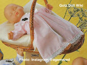 1986 CHARLOTTE - PINK - Gotz Modell Play Doll - 16 Inch Soft Baby - WEICHBABY 20062 - Sleeping Baby Doll in Pink Gingham Gown