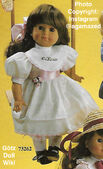 1986 NADINE - Götz Elegance Play Doll - 18 Inch Soft Doll - WEICHPUPPE 73262 - Brown Hair, Brown Eyes - White Dress with Pink Sash