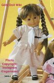 1986 MARINA - Götz Elegance Play Doll - 16 Inch Soft-Bodied Doll with Jointed Arms and Legs - WEICHGELENKPUPPE 30064 - Brown Hair, Brown Eyes - Pink and White Striped Dress