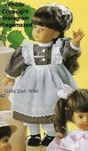 1986 DEBORAH - Götz Elegance Play Doll - 20 Inch Soft-Bodied Doll with Jointed Arms and Legs - WEICHGELENKPUPPE 11262 - Brown Hair - Gray and White Dress