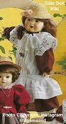 1986 KATHERINE - Götz Modell Porcelain Play Doll - 20 Inch PORZELLANPUPPE 40462 - Brown Hair, Brown Eyes - Maroon and White Drop Waist Dress