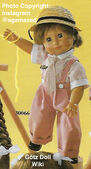 1986 MARK - Götz Elegance Play Doll - 16 Inch Soft-Bodied Doll with Jointed Arms and Legs - WEICHGELENKPUPPE 30066 - Brown Hair, Brown Eyes - Pink and White Striped Overalls