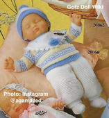 1986 CHARLOTTE - WINTER - Gotz Modell Play Doll - 16 Inch Soft Baby - WEICHBABY 20066 - Sleeping Baby Doll in Blue, Yellow and White Knit Outfit