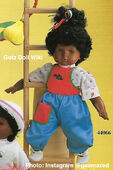 1986 JOY - Gotz Modell Play Doll - 18 Inch Soft Baby - WEICHBABY 44066 - Black Hair - Light Brown Eyes - Ice Cream Shirt with Red and Blue Jumper