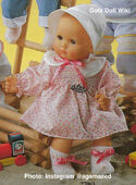 1986 BETTY - Gotz Modell Play Doll - 16 Inch Soft-Bodied Baby Doll - WEICHBABY 27063 - Bald Baby Doll - Brown Eyes - Pink Flowered Dress