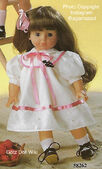 1986 AMY - Götz Modell Play Doll - 18 Inch Soft Doll with Kanekalon Wig - WEICHPUPPE mit KANEKALON PERUCKE 58262 - Brown Hair, Brown Eyes - White Eyelet Dress, Pink Trim