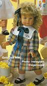 1986 EMILY - Gotz Modell Play Doll - 24 Inch Walking and Singing Doll - LAUF-UND SINGPUPPE 68063 - Blonde Hair, Blue Eyes - Checkered Dress with Navy Bow