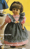 1986 NANCY - Götz Elegance Play Doll - 18 Inch Soft Doll - WEICHPUPPE 73264 - Brown Hair, Brown Eyes - Gray and Pink Apron Dress