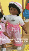 1986 JOE - Gotz Modell Play Doll - 18 Inch Soft Baby - WEICHBABY 44061 - Black Hair - Light Brown Eyes - White Top with Pink and White Striped Pants with Drawstring Belt