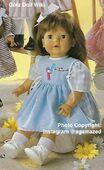 1986 BETSY - Götz Elegance Toddler - 21 Inch Soft Doll - WEICHPUPPE 17062 - Brown Hair, Brown Eyes - Blue Apron Dress with Cup Emblem