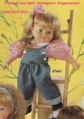 1986 GRIT - Götz Modell Play Doll - 21 Inch Soft Doll - WEICHPUPPE 47063 - Blonde Hair, Blue Eyes - Pink Striped Shirt and Blue Jean Overalls