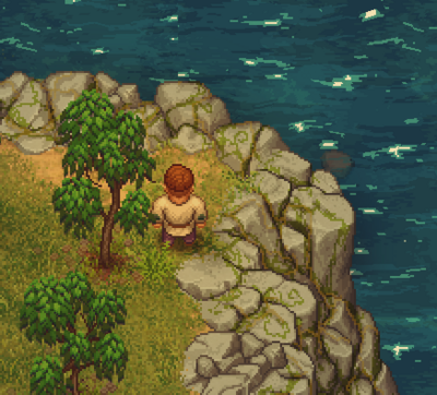 The graveyard keeper on top of the cliffs