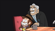S1e2 dipper posing with interviewer
