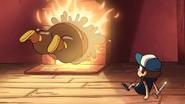 S1e3 wax figure jumping into fireplace