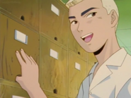Kunio Opening His Shoe Locker