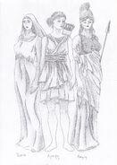 Hestia, Artemis and Athena