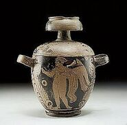 Skyphoid pyxis was a very popular vase type in the Greek Colony of Sicily 350 BC Eros