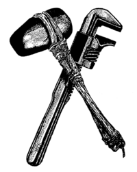 The symbol of Earth First!: a Monkey wrench and stone hammer