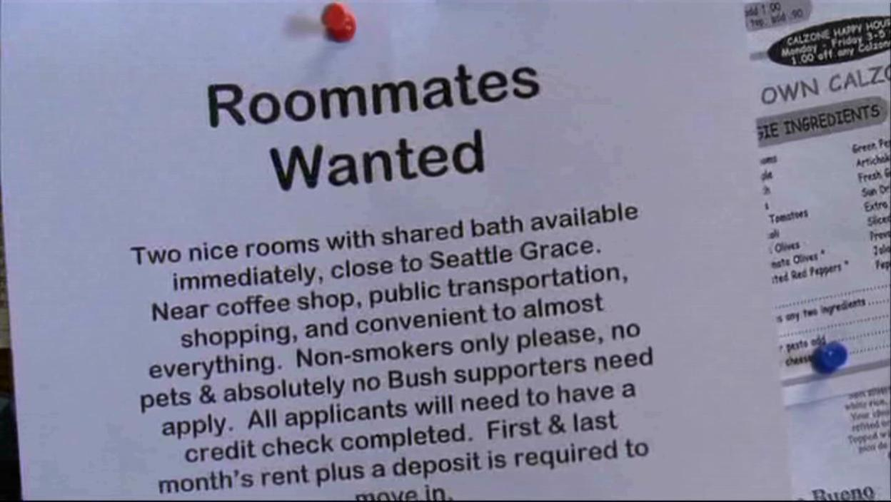 Meredith's Roommate Notice