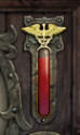 Health bar with red, dark red and black secotors.