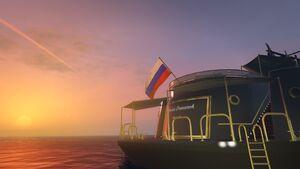Russian flag on yacht