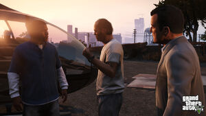 """300?cb=20130328173333 - """"Developed by series creator Rockstar North, Grand Theft Auto V heads to the city of Los Santos and its surrounding hills, countryside and beaches in the largest and most ambitious game Rockstar has yet created."""" ―Rockstar Games - Free Game Hacks"""