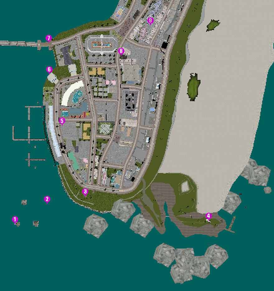 Hidden Packages in GTA Vice City/Locations
