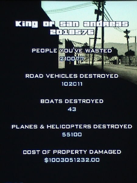 Criminal Ratings in GTA San Andreas