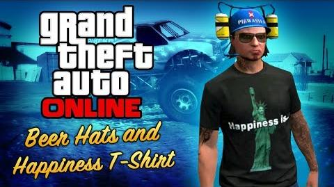 GTA Online - Beer Hats and Statue of Happiness T-Shirt (Special Crates)