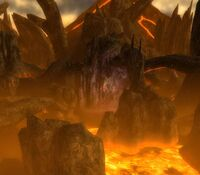 The dark rock and lava of the Lake of Fire are similar to the Ring of Fire Islands.
