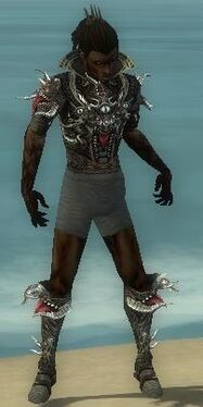 Necromancer Elite Canthan Armor M gray chest feet front.jpg