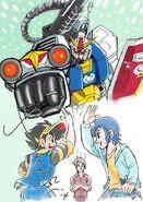 Plamo-Kyoshiro and Gundam Build Fighter art