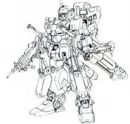 RX-79Ez-8 HAC Gundam Ez8 Heavy Armed Custom lineart