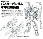 GAT-X103 Buster Gundam (Underwater Equipment) Lineart